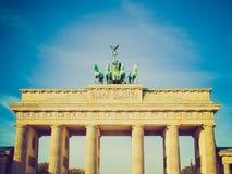 Retro blickBrandenburger Tor, Berlin royaltyfri bild