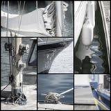 Retro blicksamling av yachtsegelbåtdetaljer Royaltyfri Bild