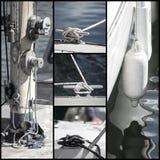 Retro blicksamling av yachtsegelbåtdetaljer Arkivbild