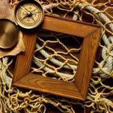 Retro blocco per grafici sulla vecchia corda e sulla rete da pesca Fotografia Stock Libera da Diritti