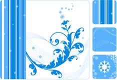 Retro bloemen-sneeuwvlokreeks Stock Afbeelding