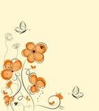 Retro bloemenachtergrond Stock Illustratie