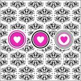 Retro bloemenachtergrond met harten Royalty-vrije Stock Afbeelding