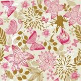 Retro bloemenachtergrond met vlinders in vector Stock Fotografie