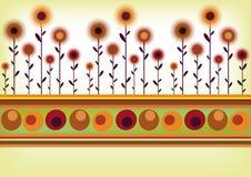 Retro bloemengrens Stock Illustratie