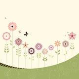 Retro bloemenkaart Stock Fotografie
