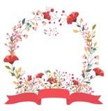 Retro bloemenkader en lint Royalty-vrije Stock Afbeelding