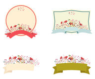 Retro bloemenkader en lintreeks Royalty-vrije Stock Foto