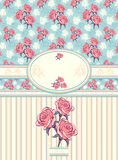 Retro bloemenkader met naadloos patroon op blauw Stock Foto's