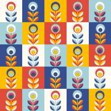 Retro bloemenpatroon, geometrische naadloze bloemen Royalty-vrije Stock Afbeelding