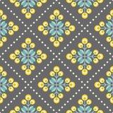Retro bloemenpatroon, geometrische naadloze bloemen Stock Foto
