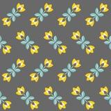 Retro bloemenpatroon, geometrische naadloze bloemen Stock Foto's