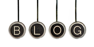 Retro Blog. Four old, scratched chrome typewriter keys with black centers and white letters spelling out the word, BLOG. Isolated on white stock images