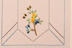 retro blom- handgjord modell för broderi royaltyfri bild