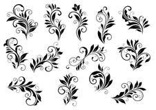 Retro blom- motiv och bladig karaktärsteckninguppsättning Arkivbild