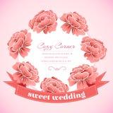 Retro blommacirkel med bandbegrepp Duva som symbol av förälskelse, pease Arkivbilder