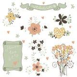 Retro blommor i vektor. Gulliga blom- buketter. Royaltyfria Foton