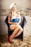 Retro Blond Beach Pinup Model With Elegant Look Stock Images