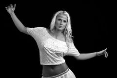 Retro blonde girl. Retro black and white photos blonde girl with a black background royalty free stock photo