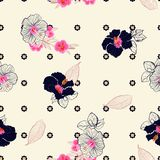 Retro Blooming hibiscus flower mix with geometric daisy minimal. Repeat flower seamless pattern vector design for fashion,fabric,wallpaper,and all prints on vector illustration