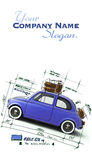 Retro blue car design Stock Image