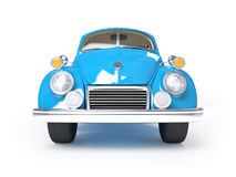 Retro blue car. Blue retro car from forties on a white background. Front view Royalty Free Stock Photography