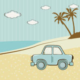 Retro blue car standing on the sand near the sea and palm trees Royalty Free Stock Images