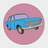 Retro blue car. Vectorial icon  of retro blue car isolated on pink background Royalty Free Stock Image