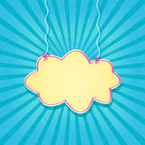 Retro Blue Card with Paper Cloud Hanging on Threads Royalty Free Stock Photography