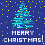 Retro blue christmas tree. Winter Holiday pixel greetings card, illustration of a scoreboard composition with digital drawing of a Christmas tree Stock Illustration