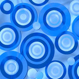 Retro Blue Circles. Fun background pattern design in blues of various sizes of retro style sparkling circles or bubbles stock illustration