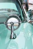 Retro Blue Classic Car Details. Close up, stylish chrome details of 1950s Vehicle Stock Photos