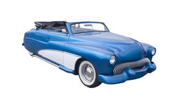 Retro blue convertible. Vintage blue convertible hotrod isolated on white Stock Photography