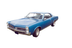 Retro blue coupe. Vintage blue American muscle car on white Stock Photo