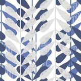 Retro blue leaves seamless pattern Stock Image