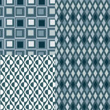 3 Retro BLUE Patterns Vector Stock Photography