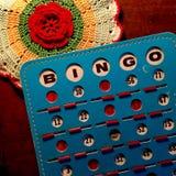 Retro blue and red Bingo card. Stock Photos