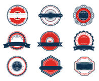 Retro blue and red labels set Royalty Free Stock Photos