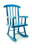 Retro blue rocking chair in white background Royalty Free Stock Photos