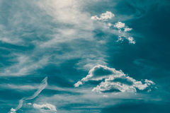 Retro Blue Summer Sky And Clouds Stock Images