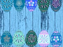 Retro blue wood and Easter eggs background texture royalty free illustration