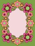 Retro- Blume Frame_Green Stockbild