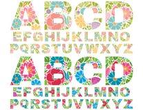 Retro- Blumen-Alphabet-Versalien Stockfoto