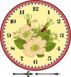 Retro- Blumen-Borduhr-Vorwahlknopf stock abbildung