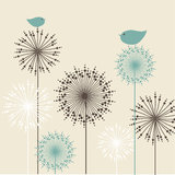 Retro Blumenhintergrund mit Vögeln Lizenzfreie Stockfotografie