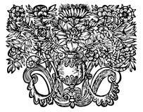 Retro- Blumenverzierung Stockbild