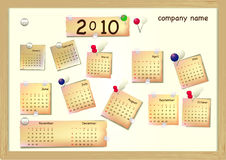 Retro board with calendar and stickers Stock Photo