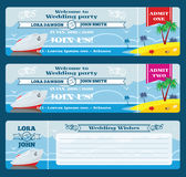 Retro boarding pass ticket. Wedding invitation template. Celebration and wish, marriage event party, vector illustration stock illustration