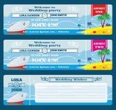 Retro boarding pass ticket. Wedding invitation template stock illustration