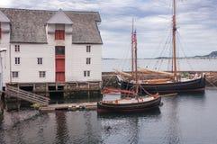 Retro boats in Alesund. Norway stock photo